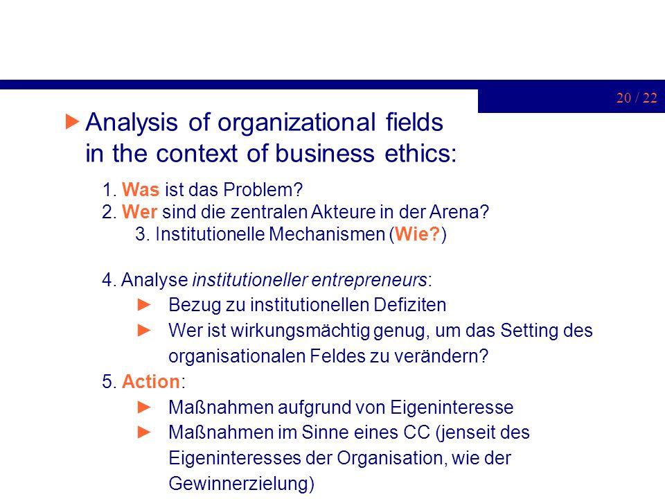 20 / 22 Analysis of organizational fields in the context of business ethics: 1. Was ist das Problem? 2. Wer sind die zentralen Akteure in der Arena? 3