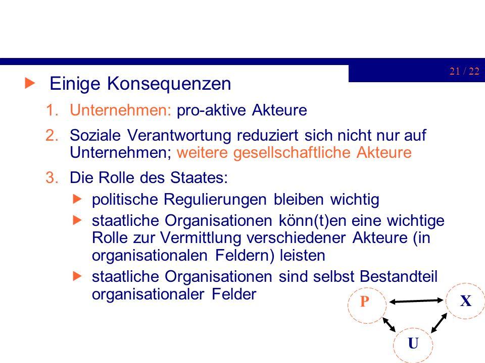 21 / 22 Einige Konsequenzen 1.Unternehmen: pro-aktive Akteure 2.Soziale Verantwortung reduziert sich nicht nur auf Unternehmen; weitere gesellschaftli