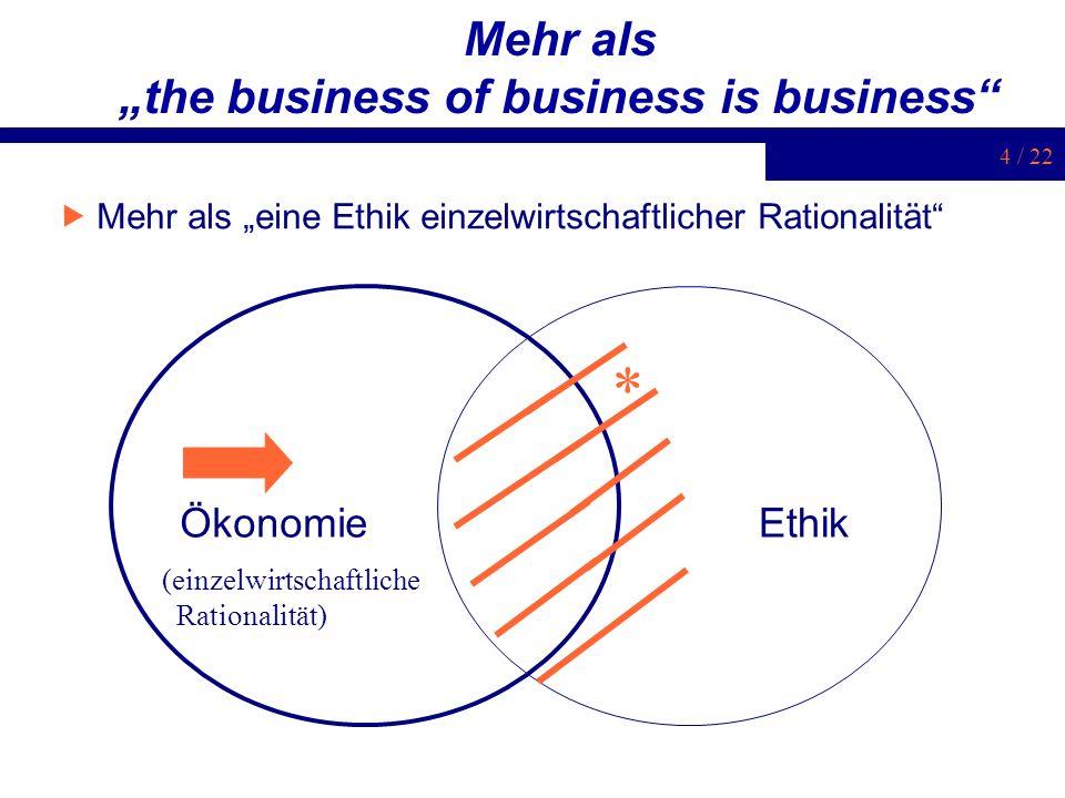 4 / 22 Mehr als the business of business is business Mehr als eine Ethik einzelwirtschaftlicher Rationalität ÖkonomieEthik * (einzelwirtschaftliche Ra
