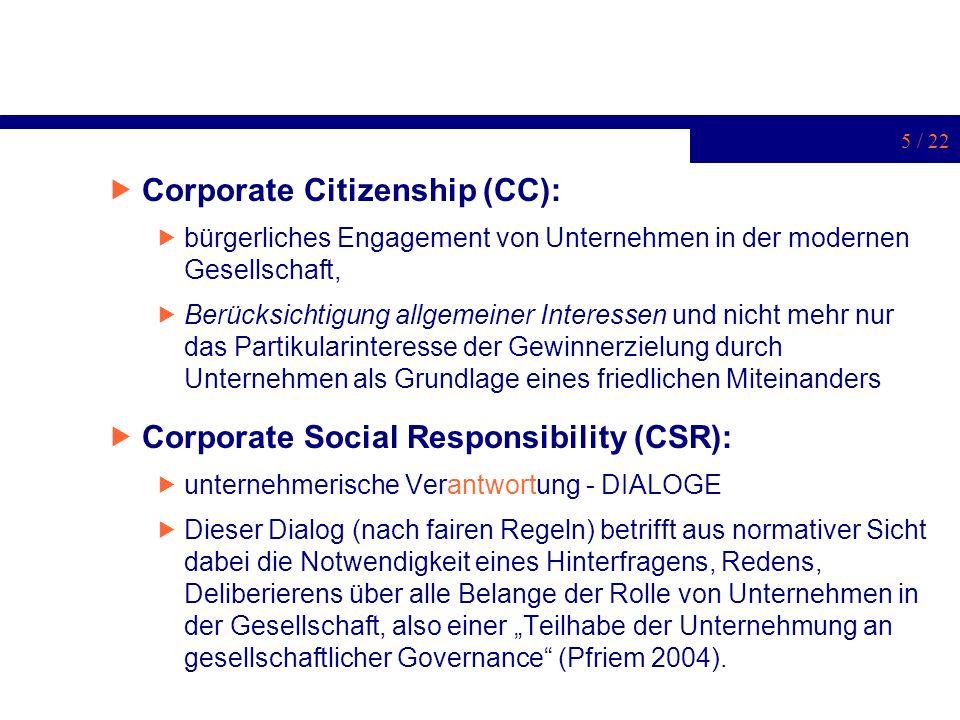 5 / 22 Corporate Citizenship (CC): bürgerliches Engagement von Unternehmen in der modernen Gesellschaft, Berücksichtigung allgemeiner Interessen und n