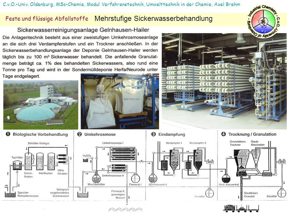 C.v.O.-Univ. Oldenburg, MSc-Chemie, Modul Verfahrenstechnik, Umwelttechnik in der Chemie, Axel Brehm Feste und flüssige Abfallstoffe Mehrstufige Sicke
