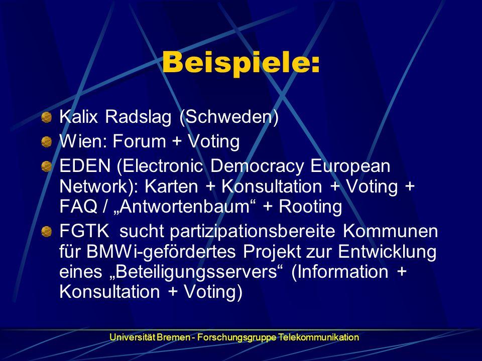 Beispiele: Kalix Radslag (Schweden) Wien: Forum + Voting EDEN (Electronic Democracy European Network): Karten + Konsultation + Voting + FAQ / Antworte