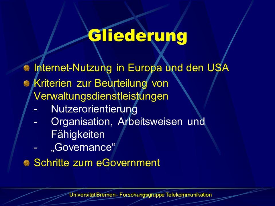 Gliederung Internet-Nutzung in Europa und den USA Kriterien zur Beurteilung von Verwaltungsdienstleistungen -Nutzerorientierung -Organisation, Arbeits