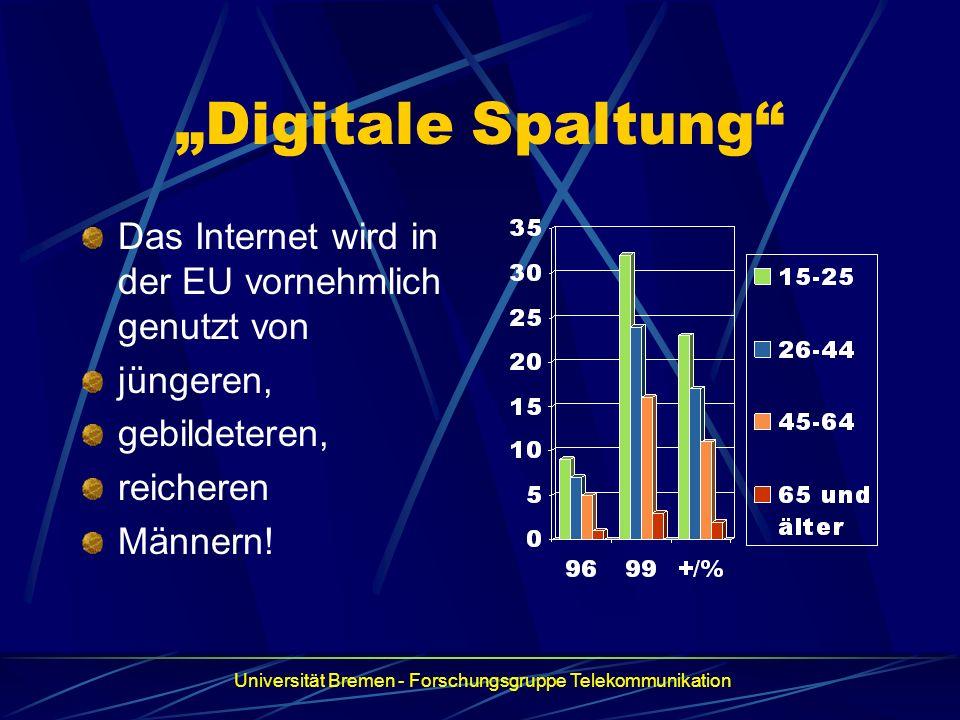 Digitale Spaltung Das Internet wird in der EU vornehmlich genutzt von jüngeren, gebildeteren, reicheren Männern! Universität Bremen - Forschungsgruppe