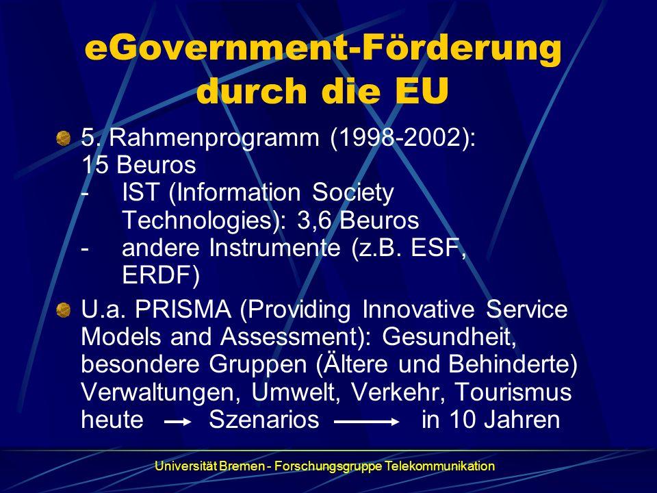 eGovernment-Förderung durch die EU 5. Rahmenprogramm (1998-2002): 15 Beuros -IST (Information Society Technologies): 3,6 Beuros -andere Instrumente (z