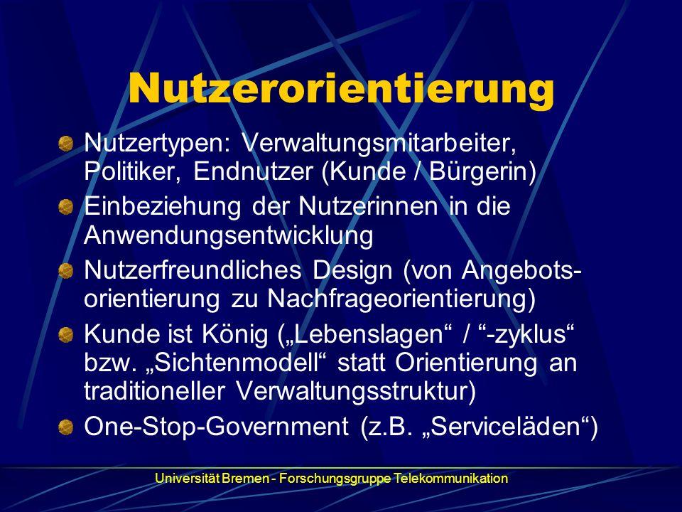 Nutzerorientierung Nutzertypen: Verwaltungsmitarbeiter, Politiker, Endnutzer (Kunde / Bürgerin) Einbeziehung der Nutzerinnen in die Anwendungsentwickl