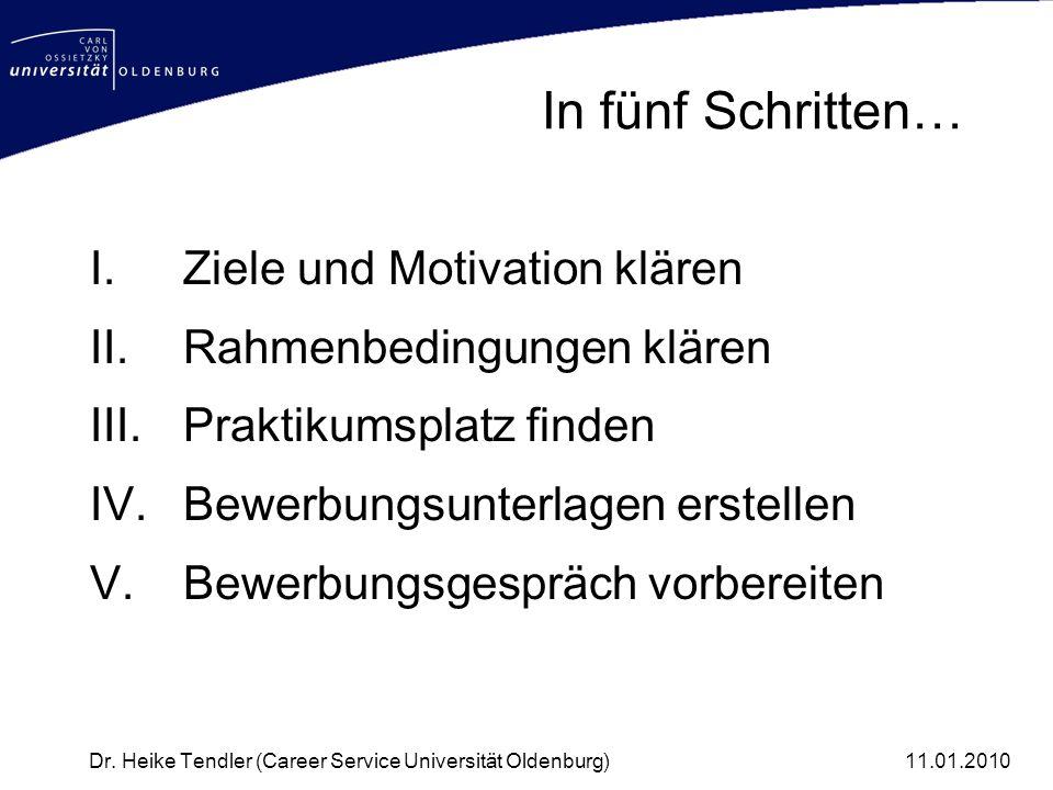 In fünf Schritten… I.Ziele und Motivation klären II.Rahmenbedingungen klären III.Praktikumsplatz finden IV.Bewerbungsunterlagen erstellen V.Bewerbungs