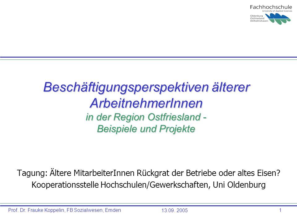 Prof. Dr. Frauke Koppelin, FB Sozialwesen, Emden13.09. 20051 Beschäftigungsperspektiven älterer ArbeitnehmerInnen in der Region Ostfriesland - Beispie