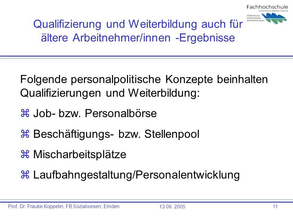 Prof. Dr. Frauke Koppelin, FB Sozialwesen, Emden13.09. 200511 Qualifizierung und Weiterbildung auch für ältere Arbeitnehmer/innen -Ergebnisse Folgende