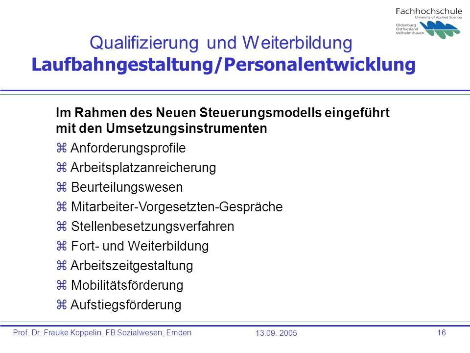 Prof. Dr. Frauke Koppelin, FB Sozialwesen, Emden13.09. 200516 Qualifizierung und Weiterbildung Laufbahngestaltung/Personalentwicklung Im Rahmen des Ne