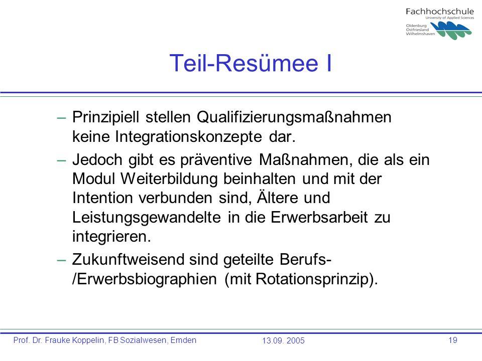 Prof. Dr. Frauke Koppelin, FB Sozialwesen, Emden13.09. 200519 Teil-Resümee I –Prinzipiell stellen Qualifizierungsmaßnahmen keine Integrationskonzepte