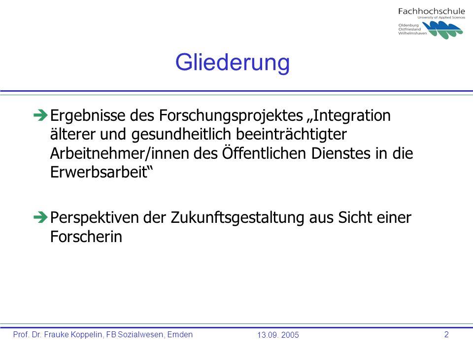 Prof. Dr. Frauke Koppelin, FB Sozialwesen, Emden13.09. 20052 Gliederung èErgebnisse des Forschungsprojektes Integration älterer und gesundheitlich bee