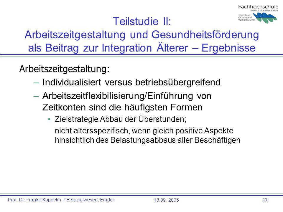 Prof. Dr. Frauke Koppelin, FB Sozialwesen, Emden13.09. 200520 Teilstudie II: Arbeitszeitgestaltung und Gesundheitsförderung als Beitrag zur Integratio