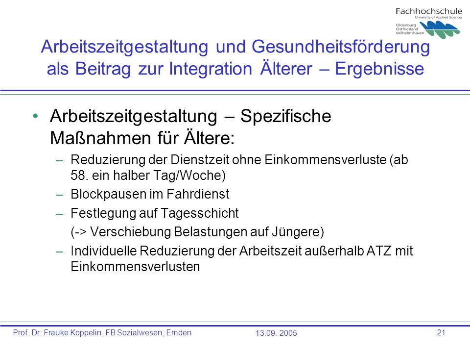 Prof. Dr. Frauke Koppelin, FB Sozialwesen, Emden13.09. 200521 Arbeitszeitgestaltung und Gesundheitsförderung als Beitrag zur Integration Älterer – Erg