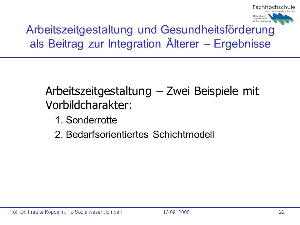 Prof. Dr. Frauke Koppelin, FB Sozialwesen, Emden13.09. 200522 Arbeitszeitgestaltung und Gesundheitsförderung als Beitrag zur Integration Älterer – Erg