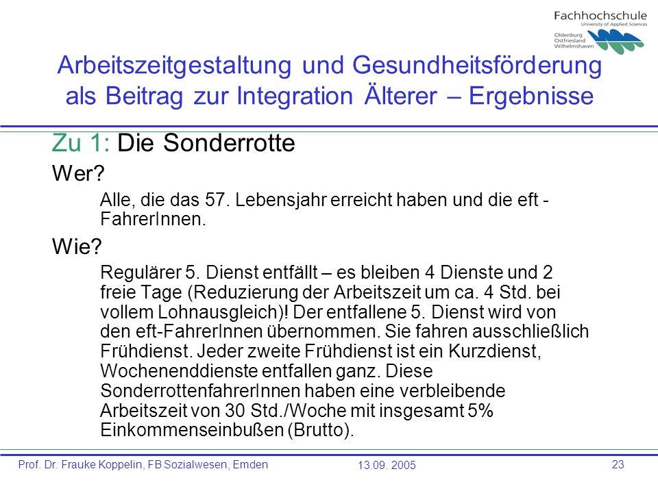 Prof. Dr. Frauke Koppelin, FB Sozialwesen, Emden13.09. 200523 Arbeitszeitgestaltung und Gesundheitsförderung als Beitrag zur Integration Älterer – Erg