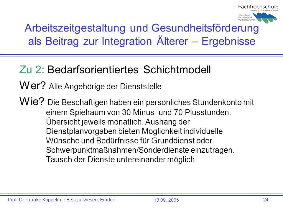 Prof. Dr. Frauke Koppelin, FB Sozialwesen, Emden13.09. 200524 Arbeitszeitgestaltung und Gesundheitsförderung als Beitrag zur Integration Älterer – Erg