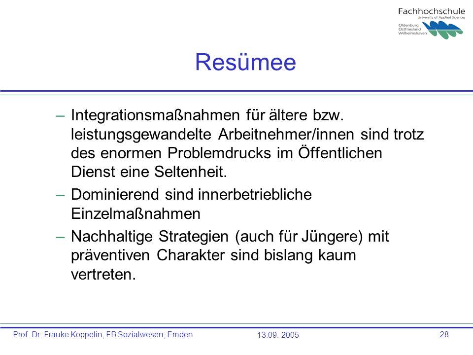 Prof. Dr. Frauke Koppelin, FB Sozialwesen, Emden13.09. 200528 Resümee –Integrationsmaßnahmen für ältere bzw. leistungsgewandelte Arbeitnehmer/innen si