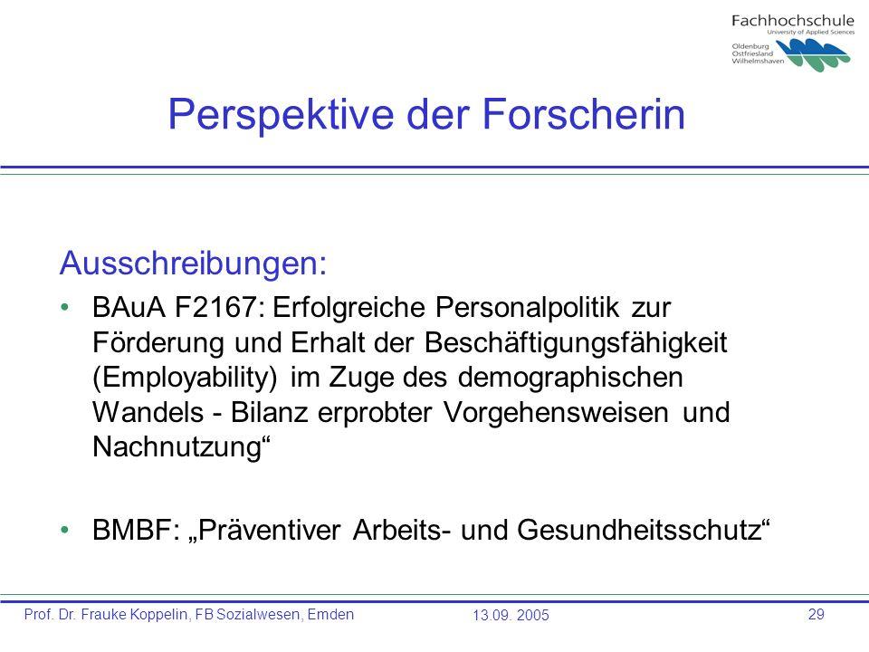 Prof. Dr. Frauke Koppelin, FB Sozialwesen, Emden13.09. 200529 Perspektive der Forscherin Ausschreibungen: BAuA F2167: Erfolgreiche Personalpolitik zur