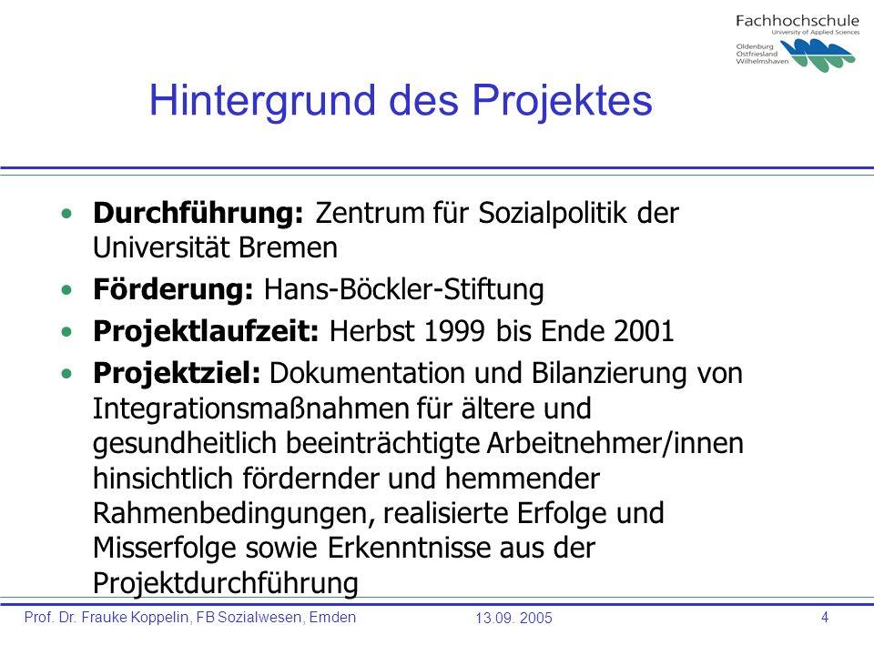 Prof. Dr. Frauke Koppelin, FB Sozialwesen, Emden13.09. 20054 Hintergrund des Projektes Durchführung: Zentrum für Sozialpolitik der Universität Bremen