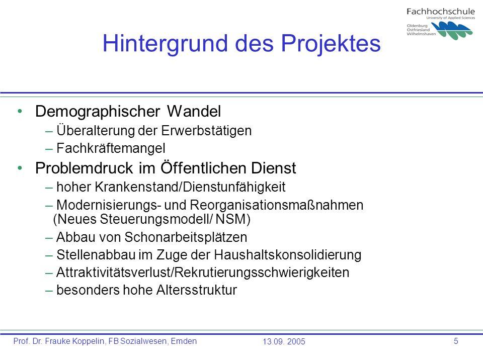 Prof. Dr. Frauke Koppelin, FB Sozialwesen, Emden13.09. 20055 Hintergrund des Projektes Demographischer Wandel – Überalterung der Erwerbstätigen – Fach