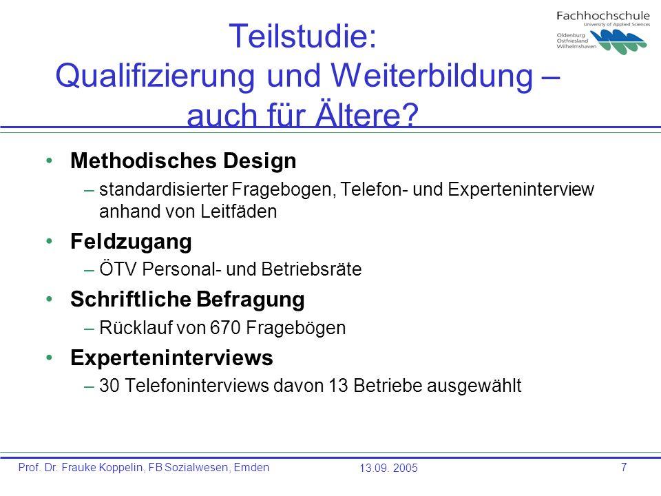 Prof. Dr. Frauke Koppelin, FB Sozialwesen, Emden13.09. 20057 Teilstudie: Qualifizierung und Weiterbildung – auch für Ältere? Methodisches Design –stan
