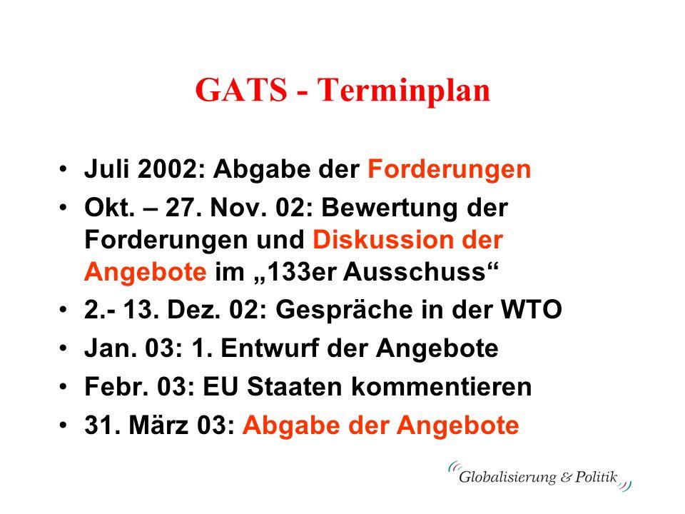 GATS - Terminplan Juli 2002: Abgabe der Forderungen Okt. – 27. Nov. 02: Bewertung der Forderungen und Diskussion der Angebote im 133er Ausschuss 2.- 1