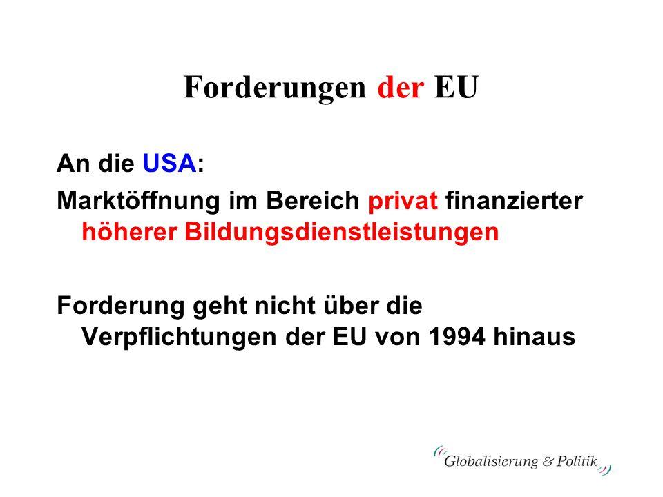 Forderungen der EU An die USA: Marktöffnung im Bereich privat finanzierter höherer Bildungsdienstleistungen Forderung geht nicht über die Verpflichtun