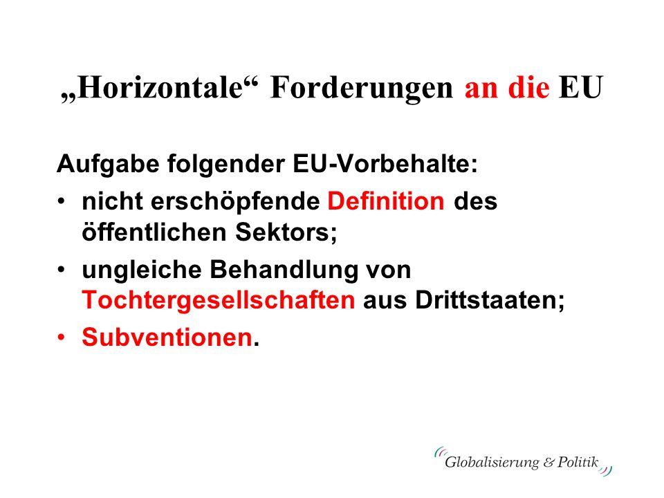 Horizontale Forderungen an die EU Aufgabe folgender EU-Vorbehalte: nicht erschöpfende Definition des öffentlichen Sektors; ungleiche Behandlung von To