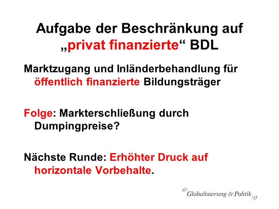 Aufgabe der Beschränkung aufprivat finanzierte BDL Marktzugang und Inländerbehandlung für öffentlich finanzierte Bildungsträger Folge: Markterschließu