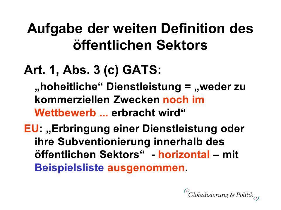 Aufgabe der weiten Definition des öffentlichen Sektors Art. 1, Abs. 3 (c) GATS: hoheitliche Dienstleistung = weder zu kommerziellen Zwecken noch im We