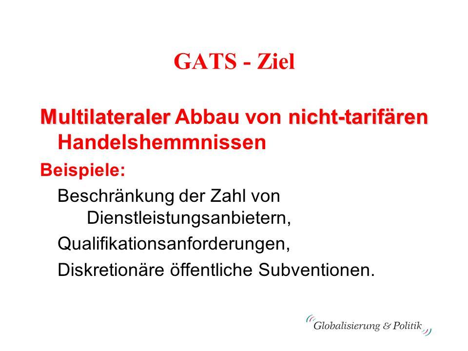 GATS - Ziel Multilateralernicht-tarifären Multilateraler Abbau von nicht-tarifären Handelshemmnissen Beispiele: Beschränkung der Zahl von Dienstleistu