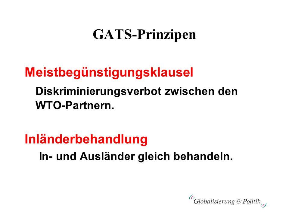 GATS-Prinzipen Meistbegünstigungsklausel Diskriminierungsverbot zwischen den WTO-Partnern. Inländerbehandlung In- und Ausländer gleich behandeln.