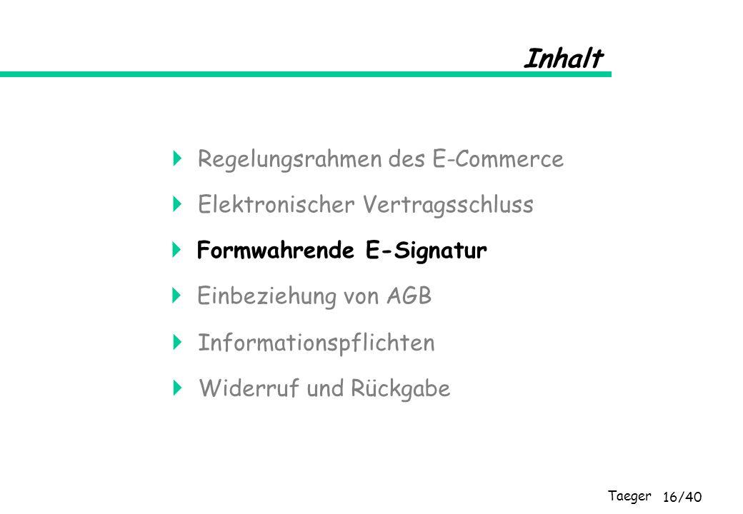 Taeger 16/40 Inhalt Elektronischer Vertragsschluss Formwahrende E-Signatur Einbeziehung von AGB Informationspflichten Widerruf und Rückgabe Regelungsr