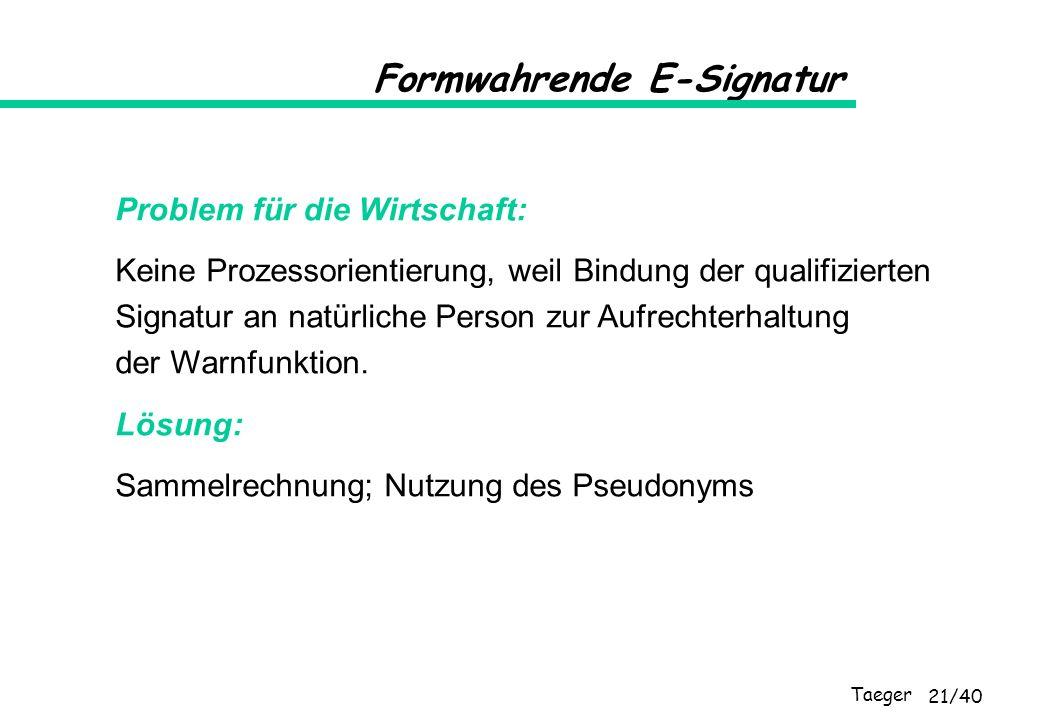 Taeger 21/40 Formwahrende E-Signatur Problem für die Wirtschaft: Keine Prozessorientierung, weil Bindung der qualifizierten Signatur an natürliche Per