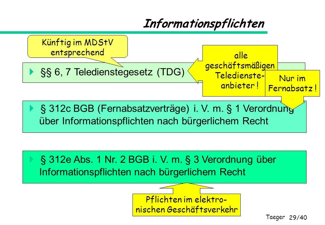 Taeger 29/40 Informationspflichten §§ 6, 7 Teledienstegesetz (TDG) § 312c BGB (Fernabsatzverträge) i. V. m. § 1 Verordnung über Informationspflichten