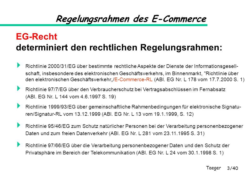 Taeger 4/40 Regelungsrahmen des E-Commerce Richtlinie über bestimmte rechtliche Aspekte der Dienste der Informationsgesellschaft, insbesondere des elektroni- schen Geschäftsverkehrs, im Binnenmarkt (Richtlinie über den elektronischen Geschäftsverkehr/E-Commerce-RL) Zielsetzung, Definitionen, Herkunftslandprinzip (Art.