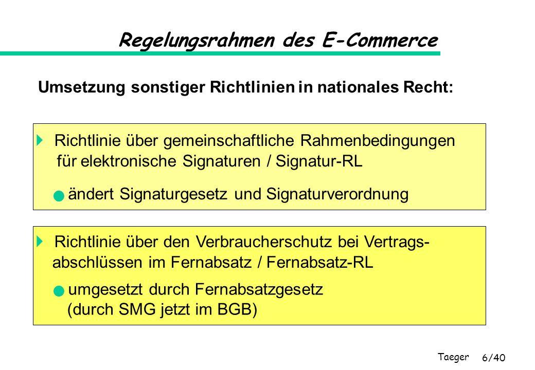 Taeger 7/40 Regelungsrahmen des E-Commerce Schuldrechtsmodernisierungsgesetz (SMG) fasst die vertrags- und verbraucherrechtlichen Vorschriften im BGB mit Wirkung vom 1.1.2002 zusammen und vereinheitlicht den Verbraucherschutz in einer Kodifizierung: AGBG VerbrKrG FernAbsG aktuell !