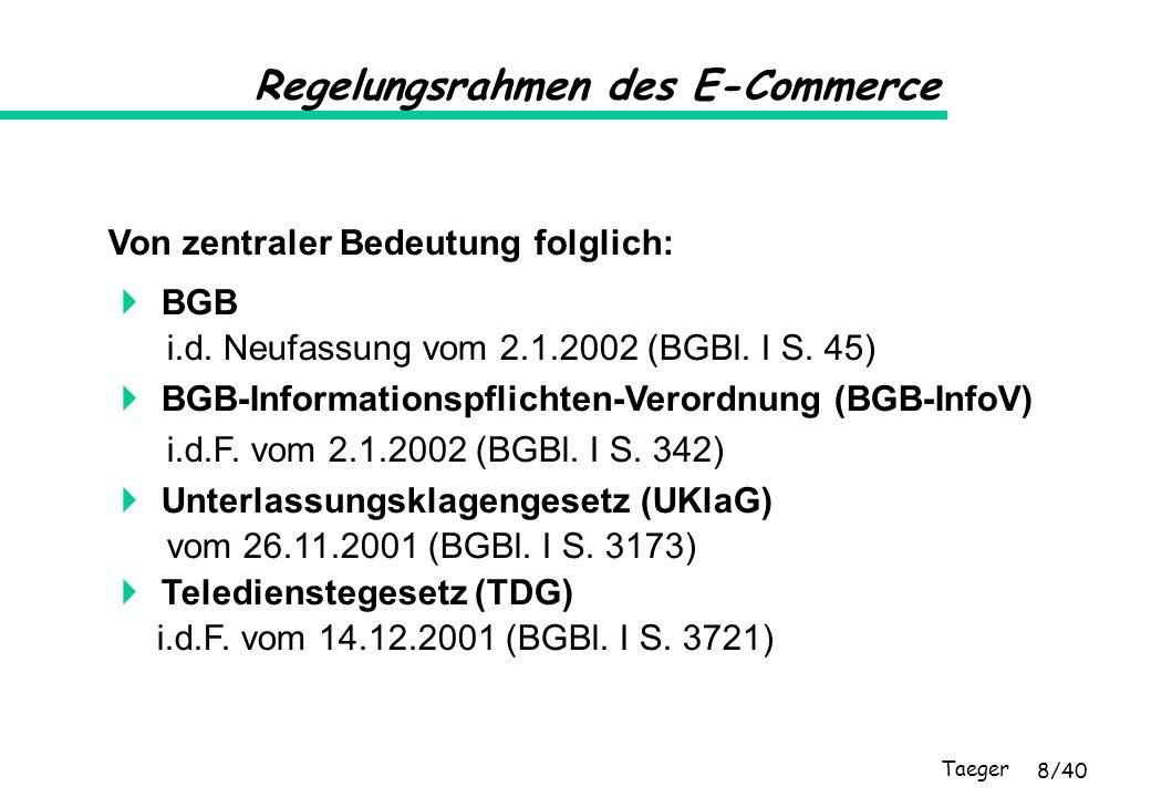 Taeger 8/40 Regelungsrahmen des E-Commerce Von zentraler Bedeutung folglich: BGB i.d. Neufassung vom 2.1.2002 (BGBl. I S. 45) BGB-Informationspflichte