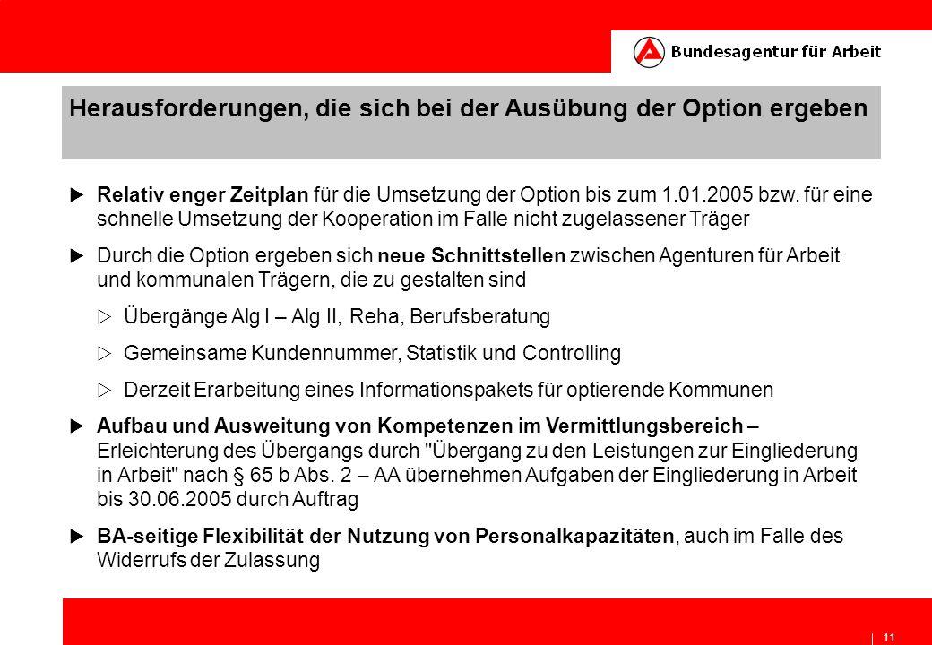 11 Herausforderungen, die sich bei der Ausübung der Option ergeben Relativ enger Zeitplan für die Umsetzung der Option bis zum 1.01.2005 bzw. für eine