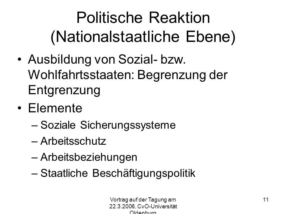 Vortrag auf der Tagung am 22.3.2006, CvO-Universität Oldenburg 11 Politische Reaktion (Nationalstaatliche Ebene) Ausbildung von Sozial- bzw.