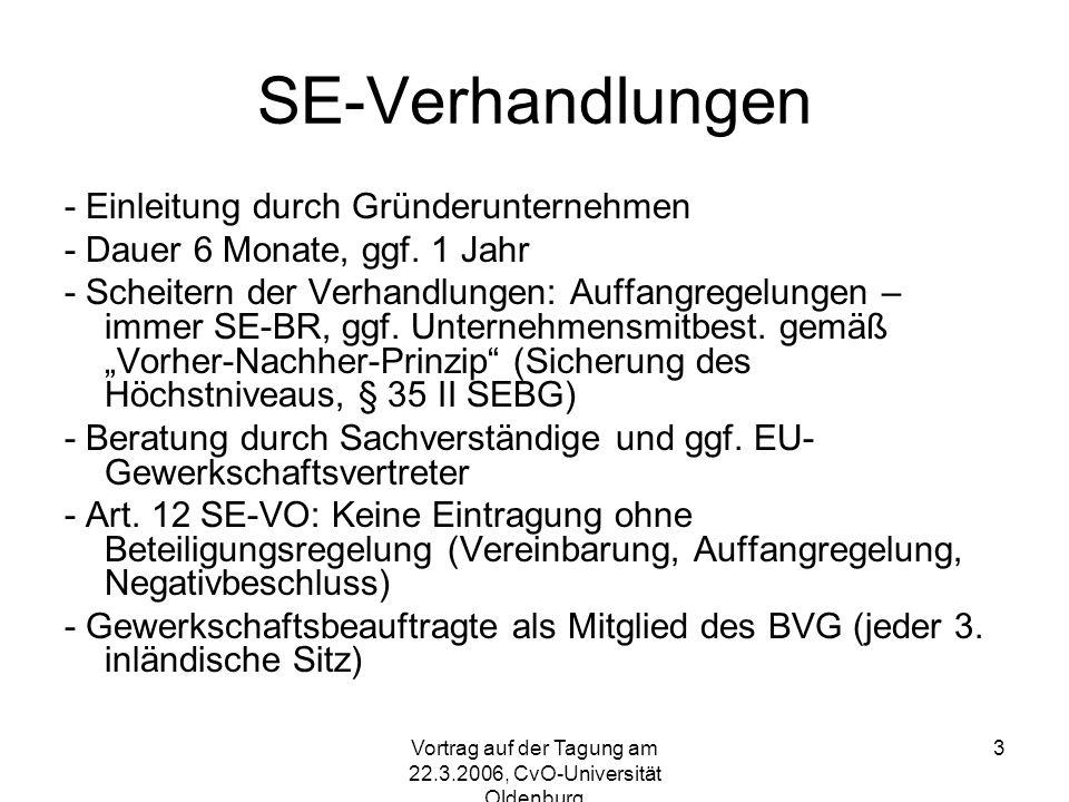 Vortrag auf der Tagung am 22.3.2006, CvO-Universität Oldenburg 14 Kapitalismusmodelle in der EU II Liberaler Typus (GB): Kurzfristig einzelwirtschaftlich orientiert (corporate governance: Dominanz betriebswirtschaftlicher Zielsetzungen) Refinanzierung an der Börse (shareholder value: Kurzfristige Renditeerwartung) Marktgeleitete Koordinierungsmechanismen Rückgang des industriellen Sektors (20%), Spaltung in standardisierte Masssenproduktion (screwdriver manufacturing, low skill- low wage) und per Risikokapital finanzierte high-tech Produktion