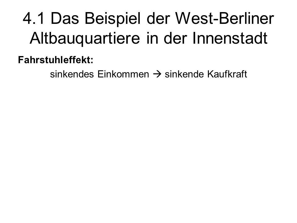 4.1 Das Beispiel der West-Berliner Altbauquartiere in der Innenstadt Fahrstuhleffekt: sinkendes Einkommen sinkende Kaufkraft