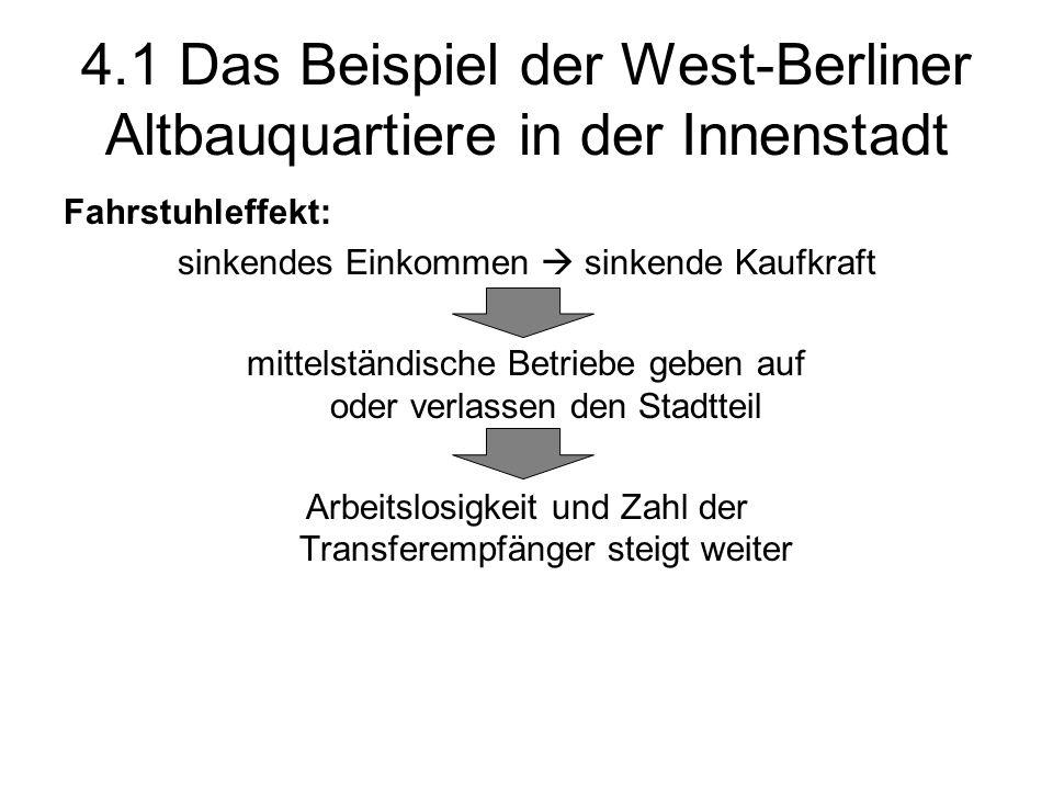 4.1 Das Beispiel der West-Berliner Altbauquartiere in der Innenstadt Fahrstuhleffekt: sinkendes Einkommen sinkende Kaufkraft mittelständische Betriebe