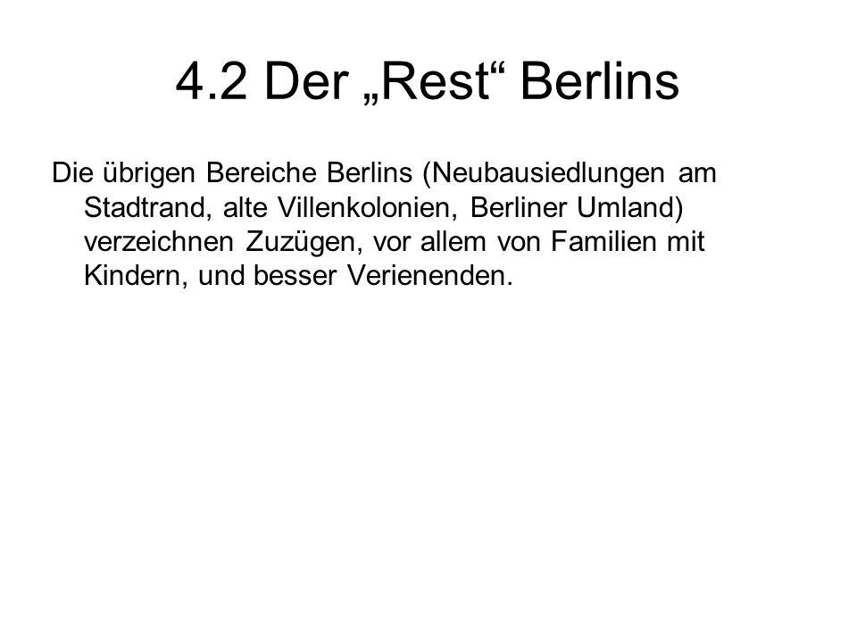 4.2 Der Rest Berlins Die übrigen Bereiche Berlins (Neubausiedlungen am Stadtrand, alte Villenkolonien, Berliner Umland) verzeichnen Zuzügen, vor allem