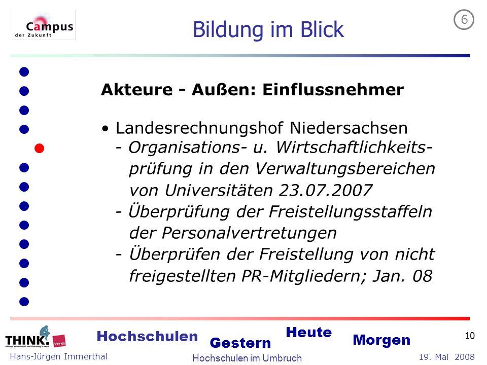 Hans-Jürgen Immerthal Hochschulen im Umbruch 19. Mai 2008 Hochschulen Gestern Heute Morgen 10 Bildung im Blick Akteure - Außen: Einflussnehmer Landesr