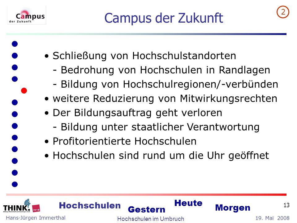 Hans-Jürgen Immerthal Hochschulen im Umbruch 19. Mai 2008 Hochschulen Gestern Heute Morgen 13 Campus der Zukunft Schließung von Hochschulstandorten -