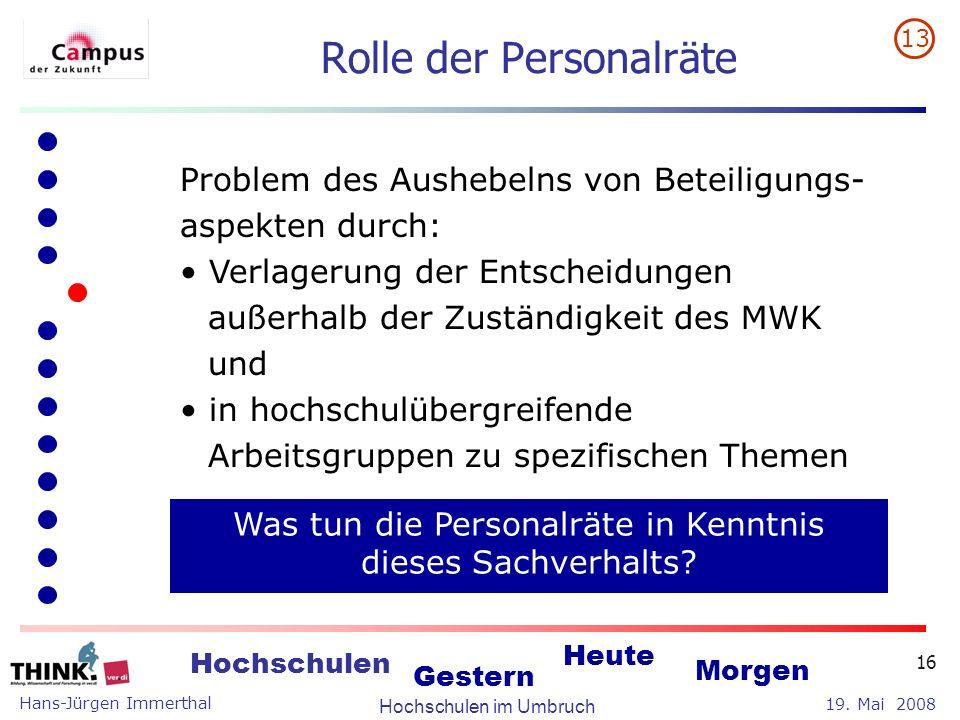 Hans-Jürgen Immerthal Hochschulen im Umbruch 19. Mai 2008 Hochschulen Gestern Heute Morgen 16 Rolle der Personalräte Problem des Aushebelns von Beteil