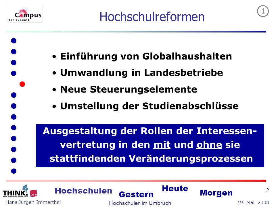 Hans-Jürgen Immerthal Hochschulen im Umbruch 19. Mai 2008 Hochschulen Gestern Heute Morgen 2 Einführung von Globalhaushalten Umwandlung in Landesbetri