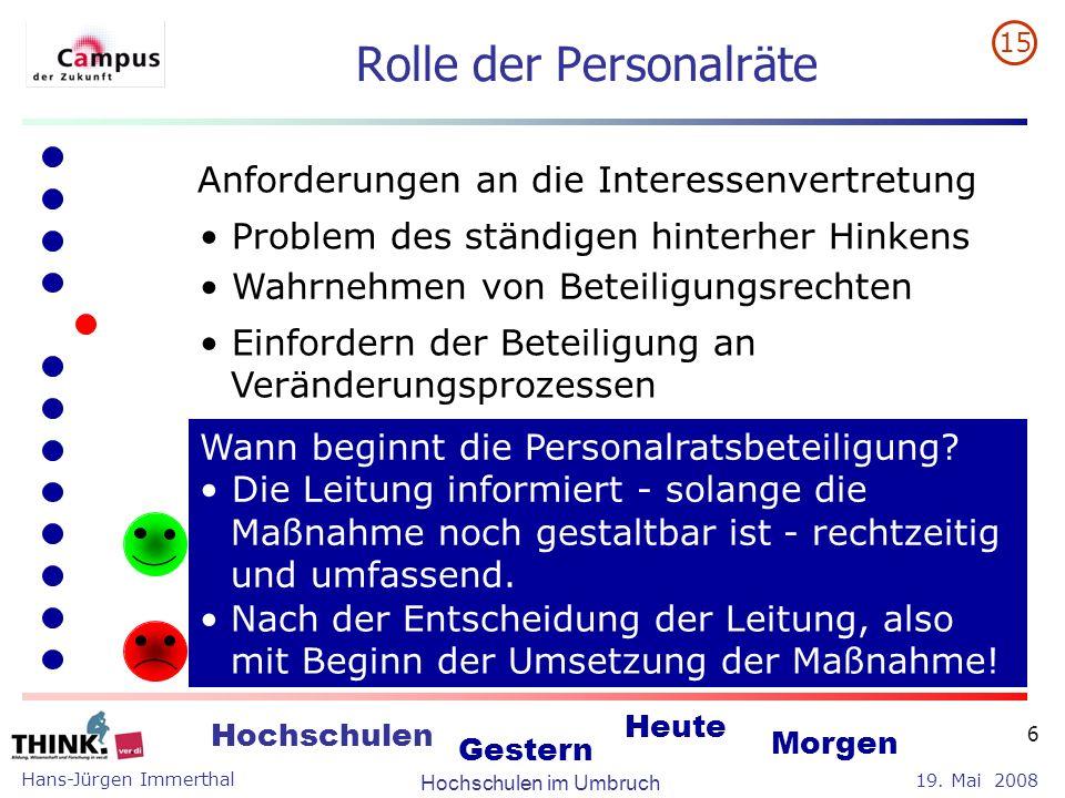 Hans-Jürgen Immerthal Hochschulen im Umbruch 19. Mai 2008 Hochschulen Gestern Heute Morgen 6 Rolle der Personalräte Anforderungen an die Interessenver
